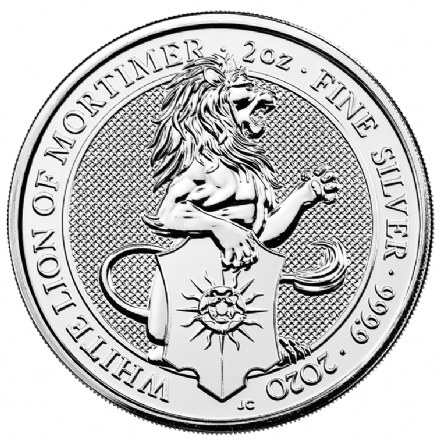 2020 Silver 2oz White Lion of Mortimer Queens Beast 5 pound